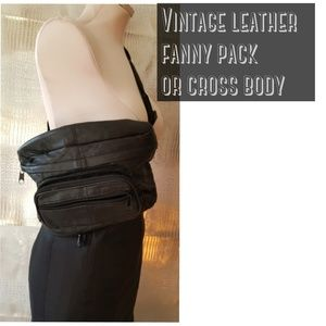 Vintage fanny pack leather nice big size rare